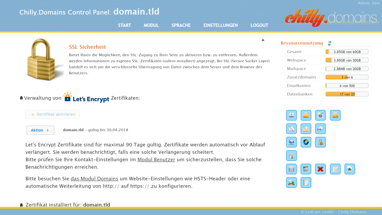 Ssl Sicherheit Hosting Control Panel Modul
